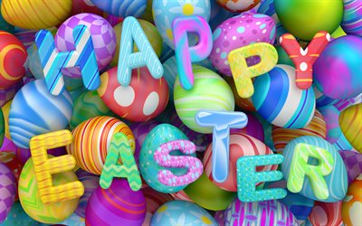 Happy Easter, 4k, Easter eggs, creative, easter decoration, Easter