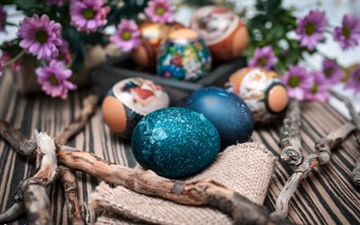 Easter eggs, spring decoration, blue easter eggs, purple flowers, Happy Easter