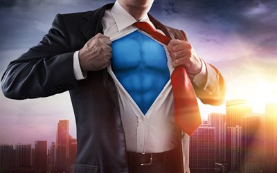 businessman superman, 4k, business concepts, be a superman, anything is possible, you are the best