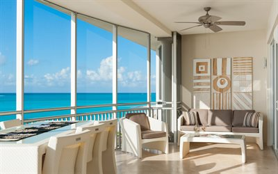 luxurious interior, stylish modern design, living room, luxurious view from the window, ocean, USA