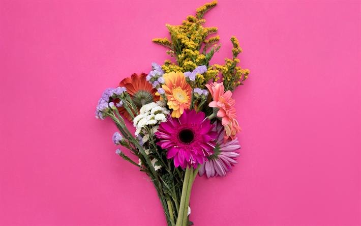 Download wallpapers bouquet of spring flowers, gerbera, pink ...