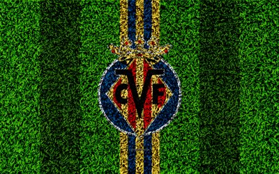 Villarreal CF, 4k, logo, football lawn, Spanish football club, yellow blue lines, grass texture, emblem, Villarreal, Spain, football, Villarreal FC