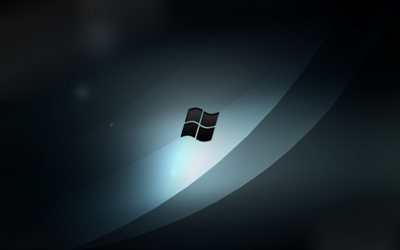 Windows, logo, emblem, gray abstract waves, operating system