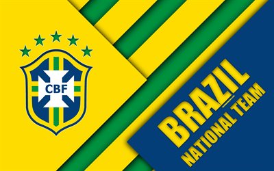 Brazil national football team, 4k, emblem, material design, blue green yellow abstraction, Brazilian Football Confederation, CBF, logo, football, Brazil, coat of arms
