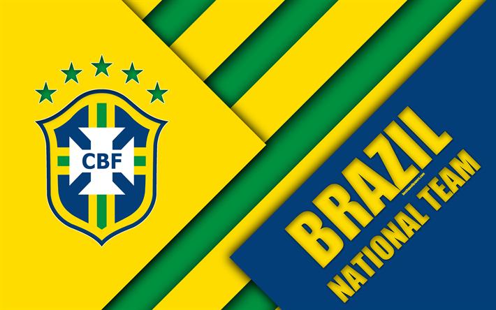Download wallpapers brazil national football team 4k emblem material design blue green - Logo club foot bresil ...