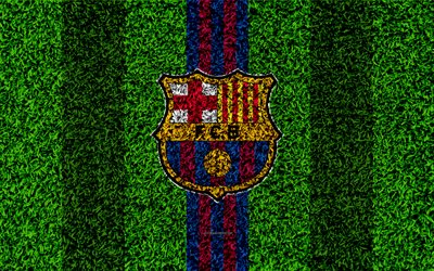 FC Barcelona, 4k, logo, football lawn, Spanish football club, blue maroon lines, grass texture, emblem, Barcelona, Catalonia, Spain, football