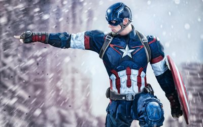 Captain America, 4k, superheroes, fan art, Captain America Civil War, Captain America 4K