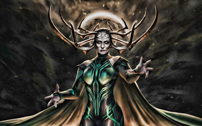 Hela, artwork, The Goddess Of Death, Marvel Comics, fictional characters, Norse goddess, Queen of Hel