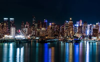 New York, metropolis, marinas, nightscapes, NYC, skyscrapers, New York City, America, USA