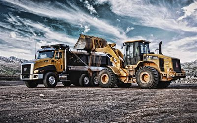 Caterpillar 950H, Caterpillar CT610, CAT, construction vehicles, dump truck, loading of stones concepts, excavator, delivery of sand concepts, USA