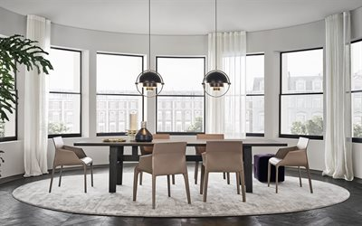 stylish dining room interior, creative round metal chandeliers, modern interior design, large table, dining room