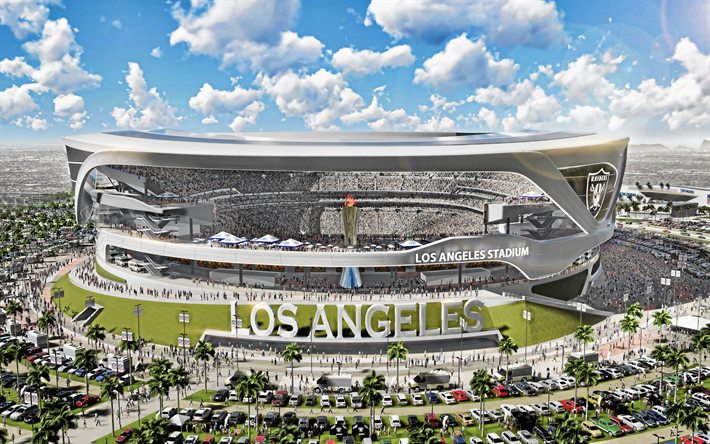Los Angeles Stadium, 4k, aerial view, Los Angeles Raiders Stadium, NFL, Raiders new stadium, american football stadium, LA Raiders, USA, Los Angeles Raiders, american stadiums, NFL stadiums