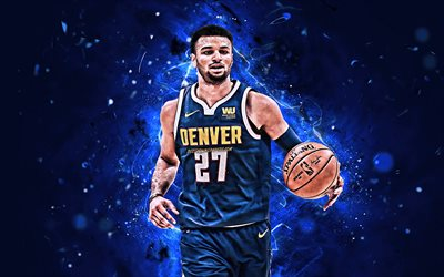 Jamal Murray, gros plan, stars du basket-ball, NBA, Denver Nuggets, Murray, basket-ball, de l'art abstrait, les néons, créatif