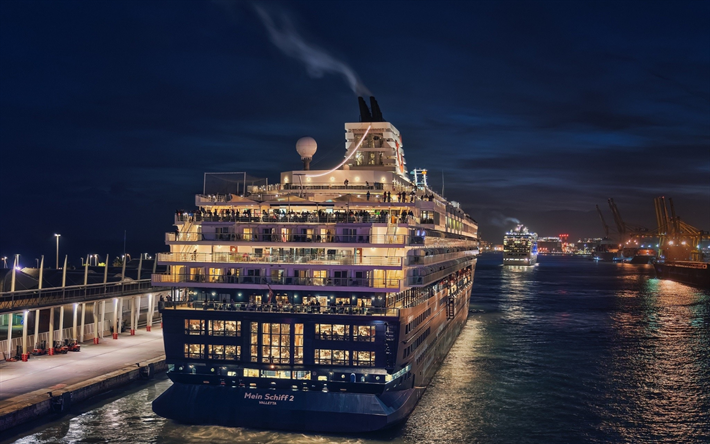 Download Wallpapers Mein Schiff 2 Beautiful Cruise Liner Evening Sunset Seaport Large Luxury Ship Cruise Ships Tui Cruises For Desktop Free Pictures For Desktop Free