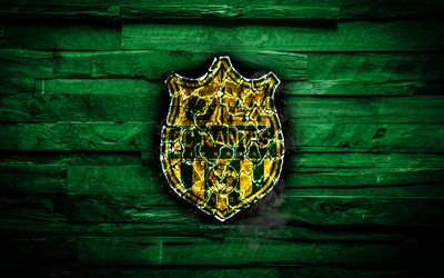Nantes FC, fiery logo, Ligue 1, green wooden background, french football club, grunge, FC Nantes, football, soccer, Nantes logo, fire texture, France