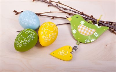 yellow easter eggs, easter background, decoration, green easter eggs, spring holidays, easter