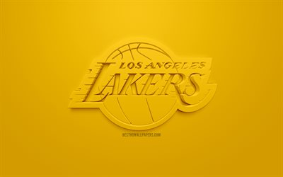 Los Angeles Lakers, creative 3D logo, yellow background, 3d emblem, American basketball club, NBA, Los Angeles, California, USA, National Basketball Association, 3d art, basketball, 3d logo