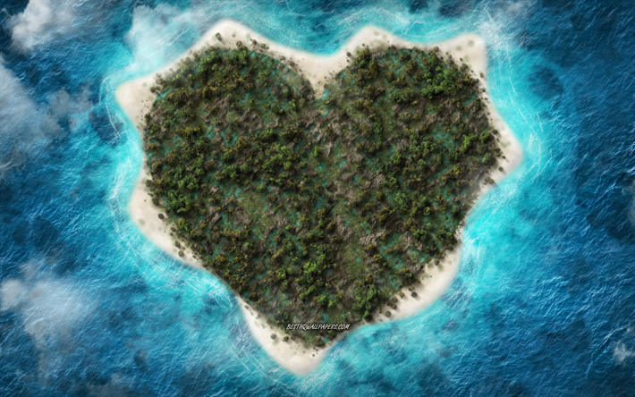 Island heart, ocean, love concepts, tropical island, top view, aero view, creative art, heart