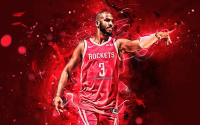Chris Paul, stars du basket-ball, NBA, les Houston Rockets, Christopher Emmanuel Paul, l'art abstrait, basket-ball, les néons, créatif, états-unis