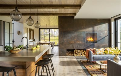 modern interior design, loft style, country house, metal fireplace, stylish interior