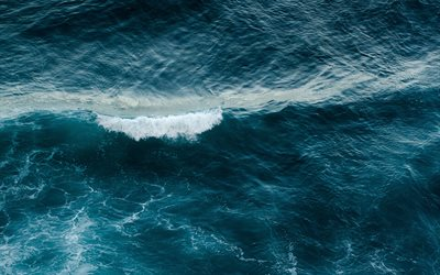 sea, aerial view, water texture, waves