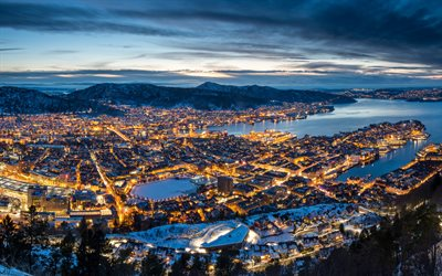 Bergen, cityscape, evening, sunset, city lights, Norwegian city, Norway