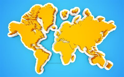 Creative 3D world map, blue background, yellow world map, 3d art, world map concepts