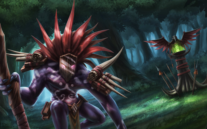 Download Wallpapers Witch Doctor 4k Dota 2 Monster