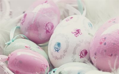 Pink Easter eggs, stylish Easter background, spring, Easter eggs, macro, Easter