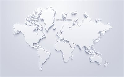3d white world map, stylish art, white background, 3d artwork, world map, 3d continents, world map concepts