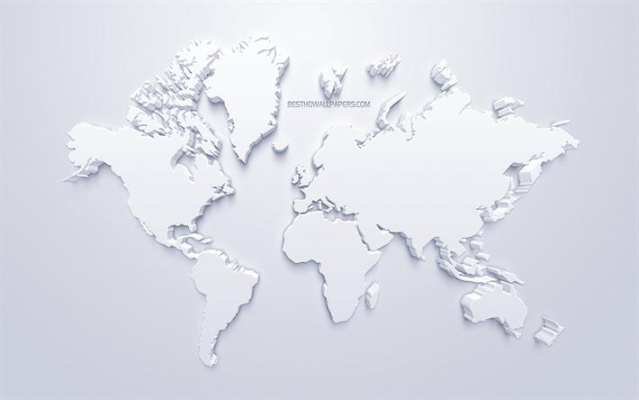 thumb2 3d white world map stylish art white background 3d artwork world map