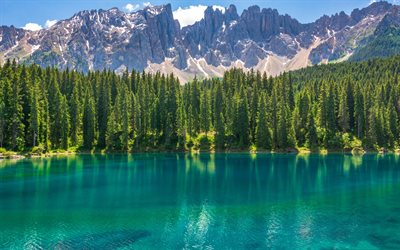 Lake Carezza, South Tyrol, Bolzano, mountain lake, mountain landscape, Dolomites, Italy