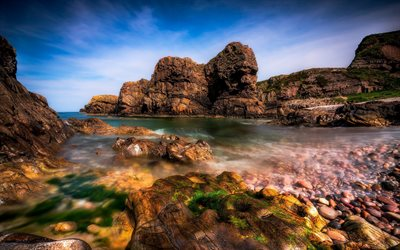 sea coast, rocks, summer, stones, waves, seascape