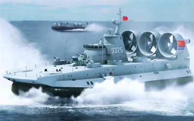 3325, Chinese Navy, military ships, landing ship, sea, Bison