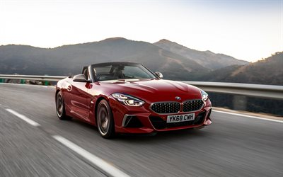 BMW Z4, 2019, M40i, red sports coupe, front view, new red Z4, german sports cars, BMW