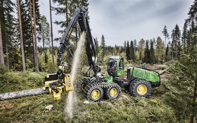John Deere 1470G, 4k, logging, specialized machinery, sawmill, John Deere, forest cutting equipment