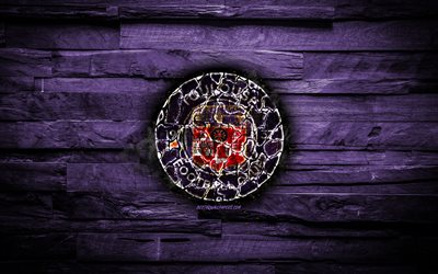 Toulouse FC, fiery logo, Ligue 1, violet wooden background, french football club, grunge, FC Toulouse, football, soccer, Toulouse new logo, fire texture, France