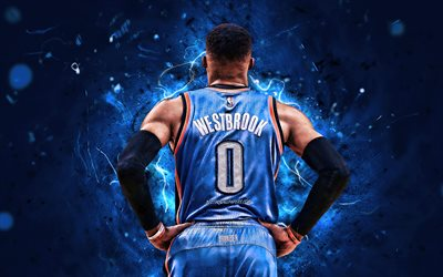 Russell Westbrook, back view, basketball stars, NBA, Oklahoma City Thunder, OKC, abstract art, Russell Westbrook III, neon lights, basketball, creative