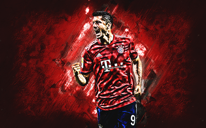 Robert Lewandowski, polacco, giocatore di football, l'attaccante, il Bayern Monaco, in pietra rossa, sfondo, creativo, arte, portrait, Bundes League, Germania, calciatori famosi, Lewandowski