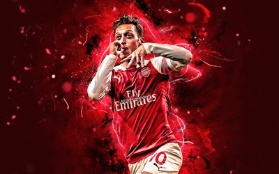 Mesut Ozil, personal celebration, Arsenal FC, goal, german footballers, soccer, Ozil, Premier League, football stars, England, The Gunners, neon lights