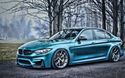 BMW M3, HDR, F80, tuning, autumn, blue m3, supercars, german cars, blue f80, BMW