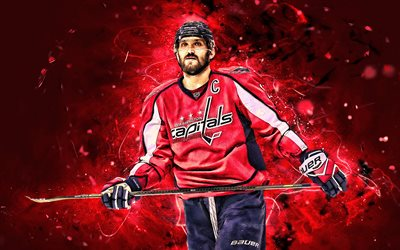 Invece Alexander Ovechkin, hockey stelle, Washington Capitals, NHL, Ovi, Washington Capitals capitano, giocatori di hockey, Ovechkin, hockey, luci al neon, Alex Ovechkin