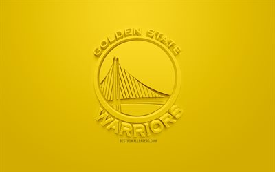 Golden State Warriors, creativo logo 3D, sfondo giallo, emblema 3d, American club di pallacanestro, NBA, Oakland, California, USA, la National Basketball Association, 3d arte, il basket, il logo 3d
