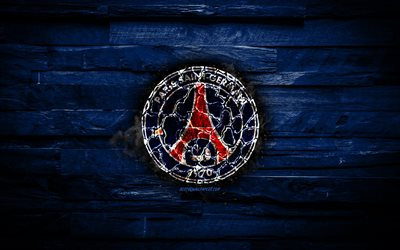 PSG, fiery logo, Ligue 1, blue wooden background, french football club, grunge, Paris Saint-Germain FC, football, soccer, PSG logo, fire texture, France