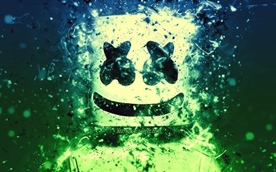 Marshmello, 4k, blue green neon, american DJ, Christopher Comstock, Marshmello 4K, artwork, superstars, fan art, DJ Marshmello, DJs