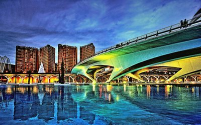 Valencia, HDR, cityscape, bridge, Spain
