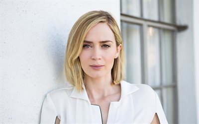 Emily Blunt, British actress, blonde, portrait, make-up, beautiful woman