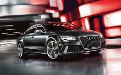 Audi RS7 Sportback, 2017 cars, movement, gray rs7, Audi