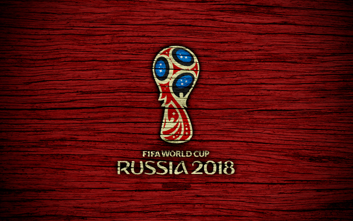 Download Wallpapers K Fifa World Cup  Wooden Texture Russia  Logo Soccer Fifa