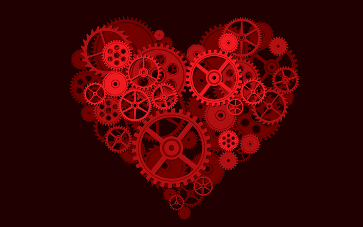 Creative red heart, love concepts, heart with gears, metal heart, gearwheel